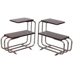Machine Age Art Deco Alfons Bach Lloyd Chromium Furniture End Tables, Lloyd's
