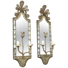 Pair of French Exquisite Crystal Wall Sconces with Two Lights and Mirror