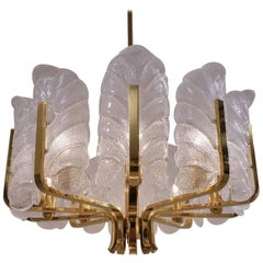 Carl Fagerlund Orrefors Chandelier Glass Leaves and Brass, Ten-Light