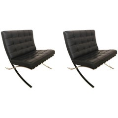 Pair of Signed Knoll Barcelona Black Leather Chairs Ludwig Mies van der Rohe