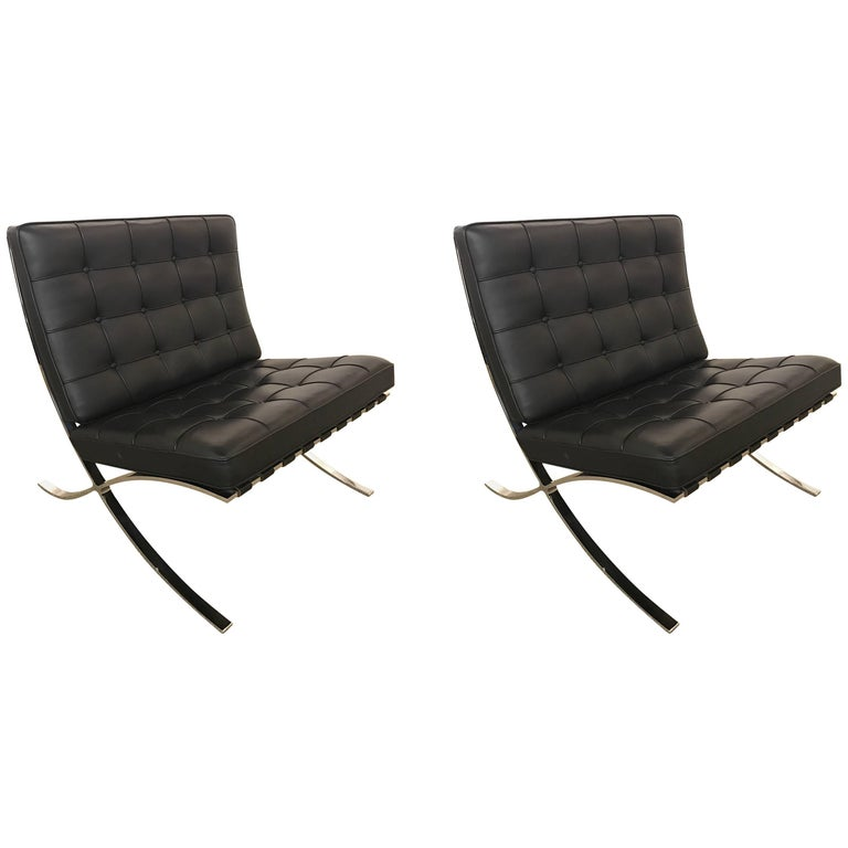 pair of barcelona chairs with ottoman by mies van der rohe for knoll at 1stdibs. Black Bedroom Furniture Sets. Home Design Ideas