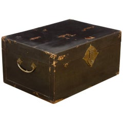 19th Century Chinese Black Lacquered Pigskin Trunk
