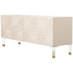Modern Style Florence Two-Door Petite Blush Pink Credenza, Lucite and Brass Legs