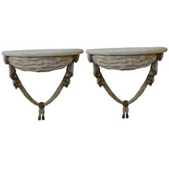 Pair of Italian Neoclassical Style Painted and Gilt Wood Console Tables