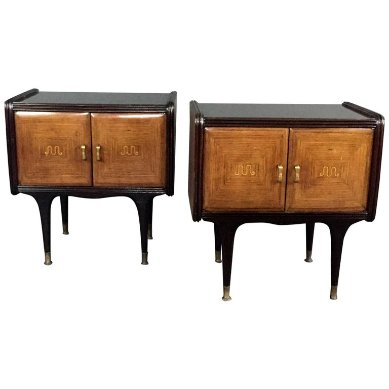 Pair of 1950s Italian Rosewood and Lacquered Nightstands
