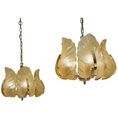 Carl Fagerlund Orrefors Chandeliers, a Matching Pair, circa 1960