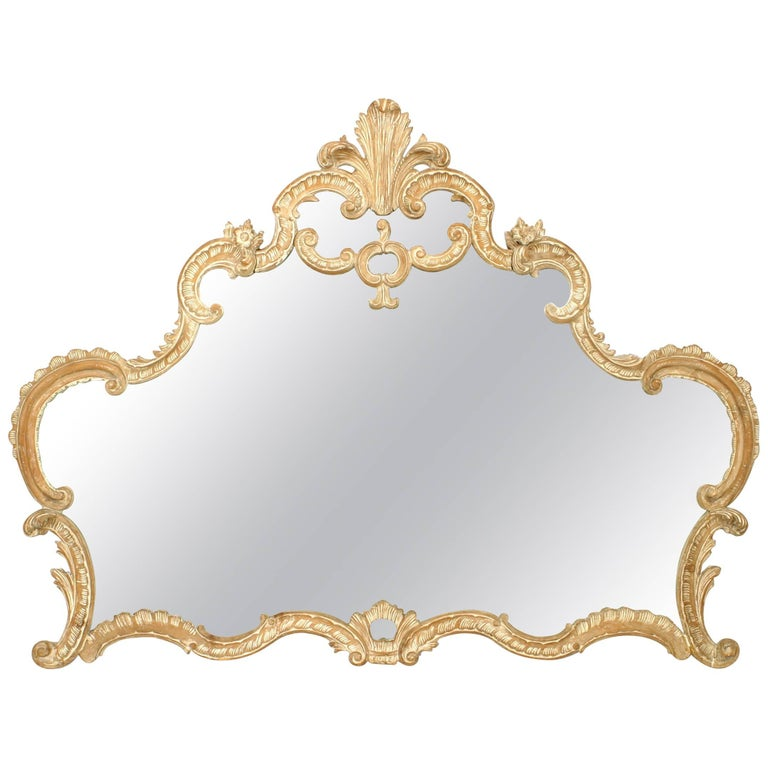French Louis XV Style '19th-20th Century' Bleached Horizontal Wall Mirror