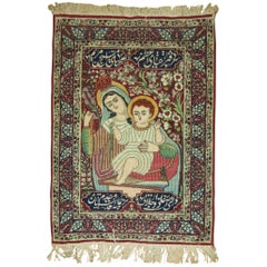 Pictorial Antique Lavar Kerman Rug with Mother Mary and Jesus Christ