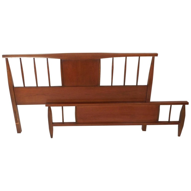 Mid-Century Modern Walnut Headboard and Footboard