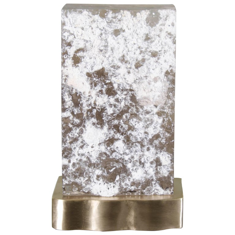 Cuadra Light by Robert Kuo, Smoke Crystal and Brass, Limited Edition, in Stock