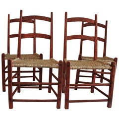 19th Century Folky Canadian  Ladder Back Chairs/Set of Four