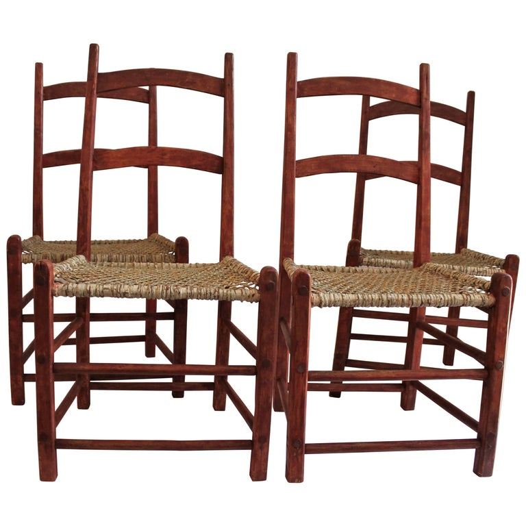 19th Century Folky Canadian  Ladder Back Chairs/Set of Four For Sale