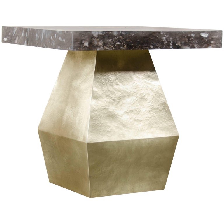Brancusi Brass Table with Smoke Crystal Top by Robert Kuo, Limited Edition