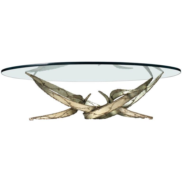 Silas Seandel Silver Leafed Brutalist Coffee Table