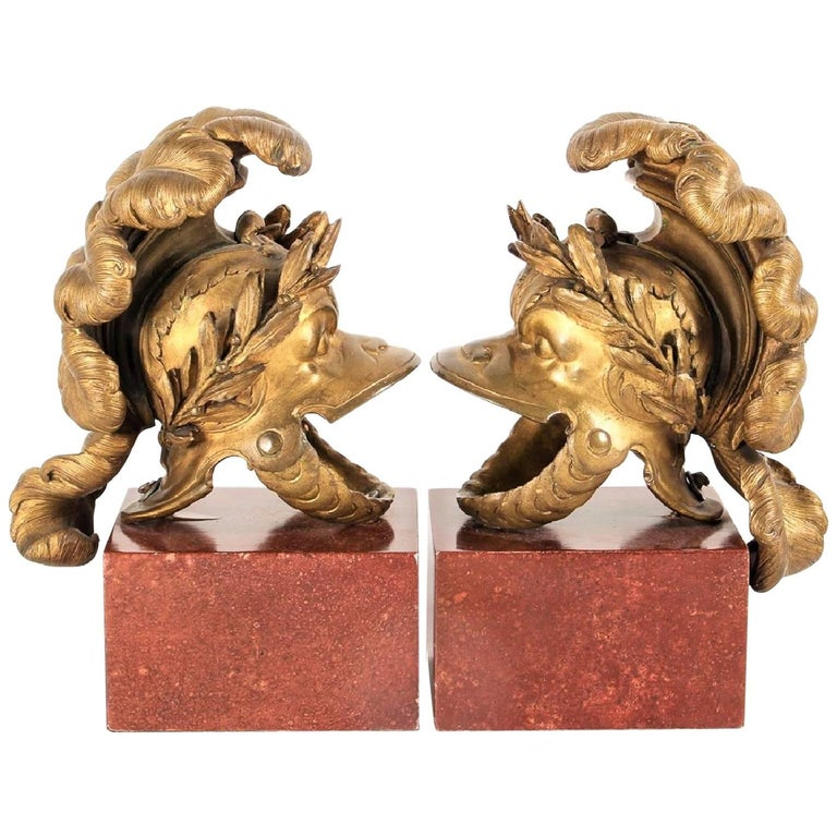 Pair of Neoclassical Grand Tours of Gilt Bronze Helmuts Mounted as Garnitures