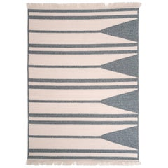 Natural Woven Wool Rug in Blue is Custom Crafted in the USA, Reversible, Aya