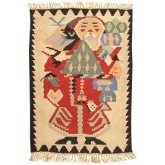 Vintage Turkish Flat-Woven Rug, Small Size, with Baba Noel 'Santa Claus' Design