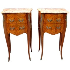 Pair of French Marquetry Inlaid Kingwood Marble Top Chairside Tables