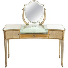 Hollywood Regency Wood and Mirrored Vanity  with Upholstered Bench