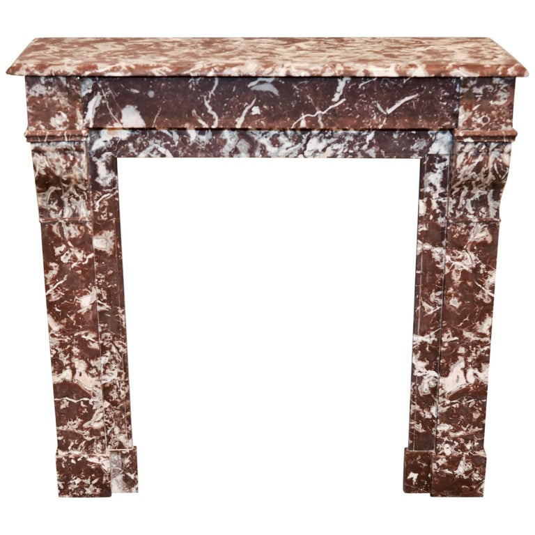 French Neoclassical Rouge Marble Mantel