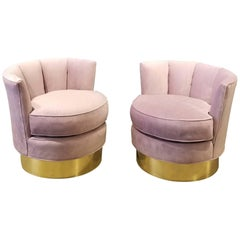 Luxe Pair of Restored Brass & Velvet Swivel Chairs Style of India Mahdavi, 1970s