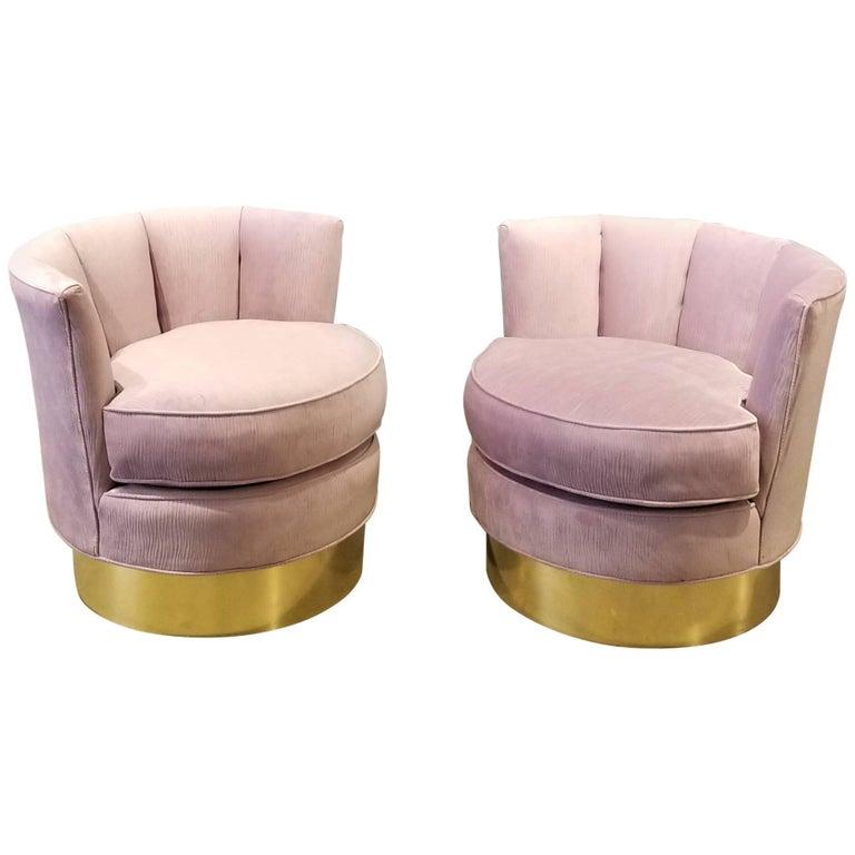 Luxe Pair of Restored Brass & Velvet Swivel Chairs Style of India Mahdavi, 1970s
