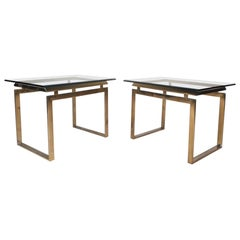 Pair of Mid-Century Modern Sled Leg End Tables