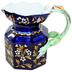 English 19th Century Mason's Ironstone Cobalt and Gold Fenton Jug or Pitcher