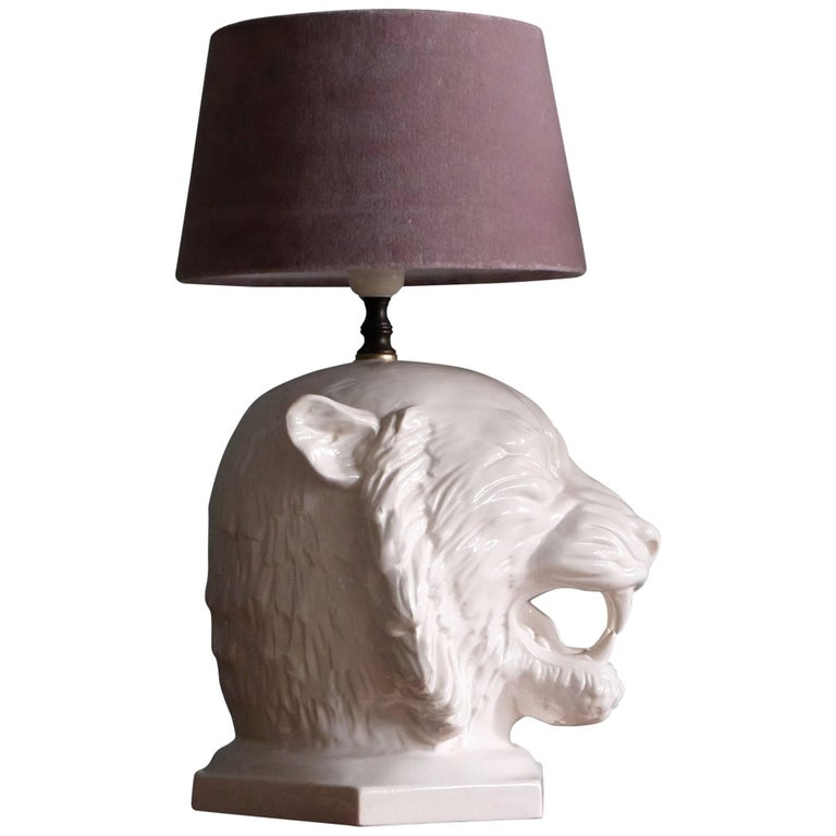 Swedish Ceramic Tiger Table Lamp, 1960s