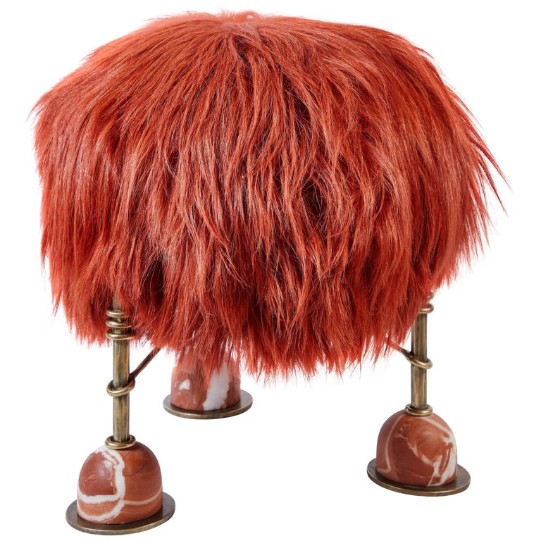 Rebelle Goat Hair, Brass and Marble Ottoman by Kelly Wearstler and Aimee Song For Sale