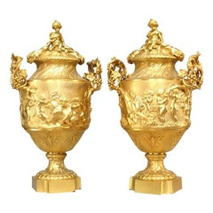 Pair of French Louis XV Style Gilt Bronze Urns