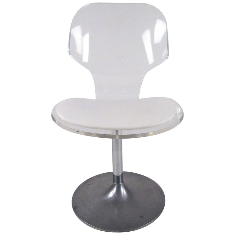 Vintage Modern Lucite Swivel Side Chair