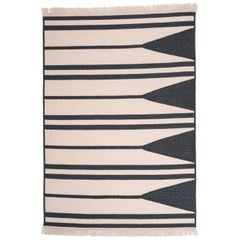 Natural Woven Wool 'Aya' Rug in Slate and White, Reversible, Custom Made in USA