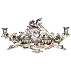 French Louis XV Style '19th Century' Bronze Doré Filigree Double Inkwell