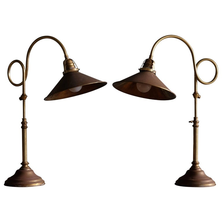 Pair of Swedish Brass Table Lamps, 1960s