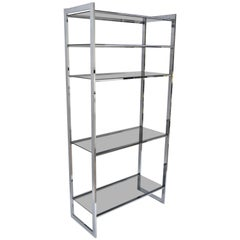 Mid-Century Modern Chrome Smoked Glass Étagère Bookcase Shelf Baughman Style