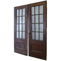 Antique Oak French Doors from an Institution in New York