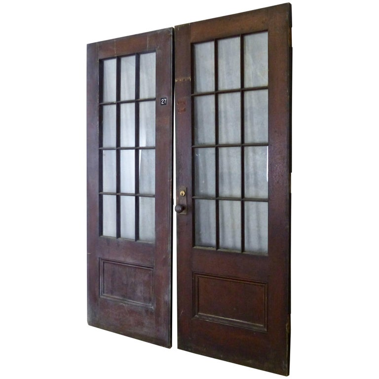 Antique Oak French Doors from an Institution in New York For Sale