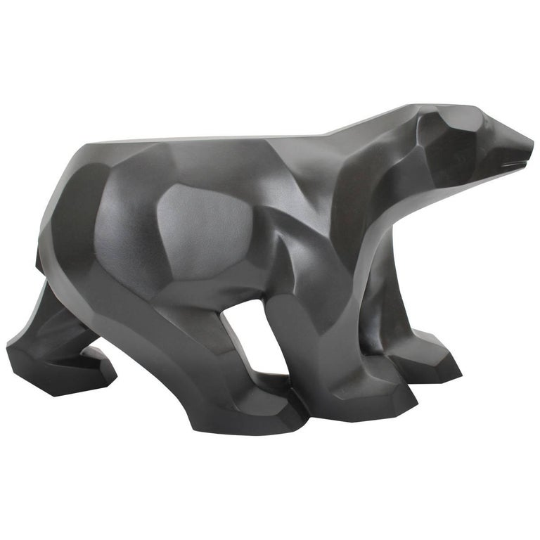 Black Walking Bear Side or End Table Contemporary Handmade Hydrostone Sculpture For Sale