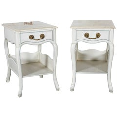 Louis XV Style White and Blue Night Tables