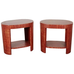 Brick Red Linen-Wrapped Oval End Tables