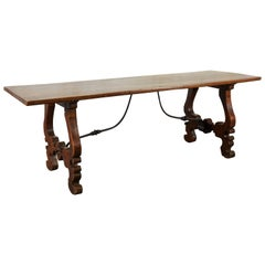 Spanish Baroque Walnut and Wrought-Iron Refectory Table