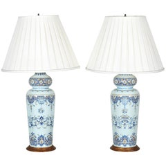 Tall Pair of 19th Century French Faience Vases Mounted as Lamps
