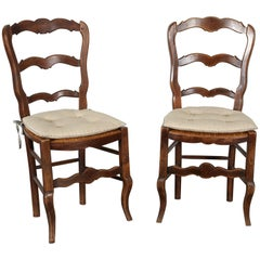 Pair of 19th Century French Louis XV Provincial Walnut Rush-Bottomed Side Chairs