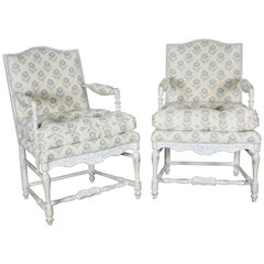Pair of Louis XV Provincial White and Blue-Painted Armchairs