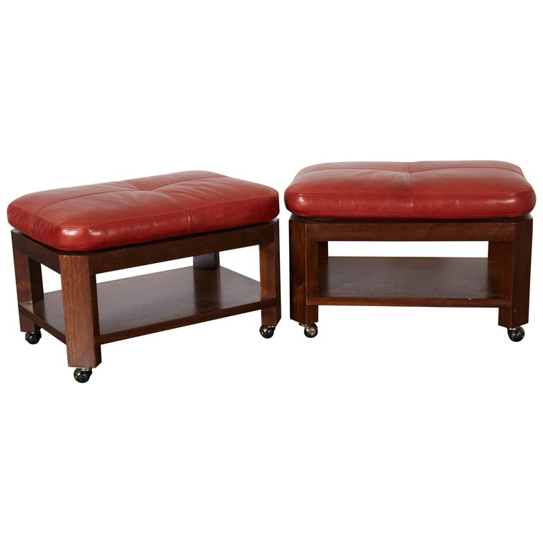 David Easton Brick Red Leather and Walnut Benches
