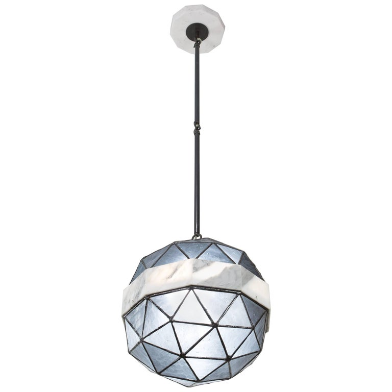 Array_Single in Slate, Brass, Marble, Glass Contemporary Pendant by Kalin Asenov
