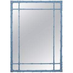 Blue Painted Faux Bamboo Mirror
