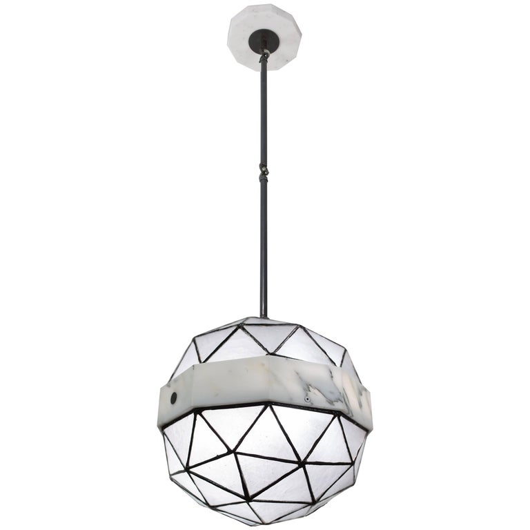 Array_Single in Ice, Brass, Marble, Glass Contemporary Pendant by Kalin Asenov