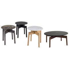 Contemporary 100xbtr Raise Side Tables in Solid White Oak with Stone Top